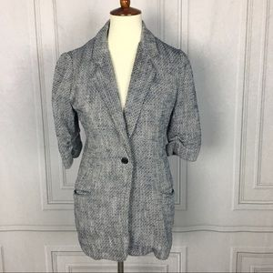 Elizabeth & James Blue Tweed Ruched Sleeve Blazer
